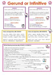 English Worksheet: Gerund and Infinitive