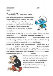 English Worksheet: when/while -past continuous-the smurfs-
