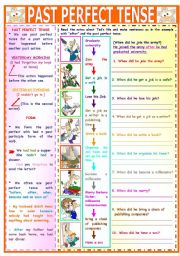English Worksheet: PAST PERFECT TENSE