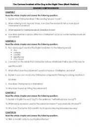 English Worksheets: The Curious Incident of the Dog in the Night-Time - Reading Comprehension