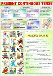 English Worksheet: THE PRESENT CONTINUOUS TENSE