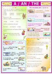 English Worksheet: A / AN / THE  (for young learners)