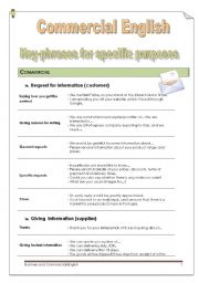 English Worksheet: Commercial English: Key phrases for Specific Purposes