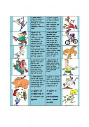 English Worksheet: Sports and games!!!! DOMINO! ...part 2...