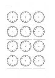 Blank clock worksheet - ESL worksheet by steryder