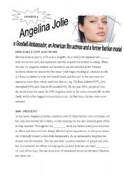 English Worksheet: Angelina Jolie - reading/information gap activity
