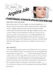 English Worksheets: Angelina Jolie - reading/information gap activity