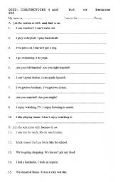English Worksheets: Conjunctions Quiz