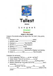 English Worksheets: The tallest, Shortest,Longest, Greenest, Brownest  Animal in the Jungle