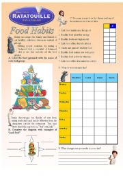 English Worksheet: Ratatouille - Food Habits (2/3)