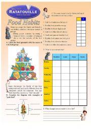 English Worksheet: Ratatouille - Food Habits (2/3)