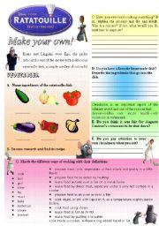 English Worksheet: Ratatouille - Make your own! (3/3)