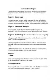 English Worksheets: Monthly Book Repot