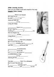 English Worksheet: imagine song