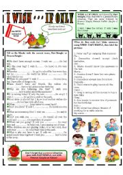 English Worksheet: I WISH - - IF ONLY