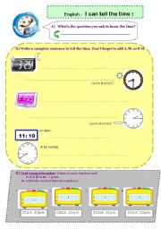 English worksheet: I can tell the time- 4exercises, incl. listening practice
