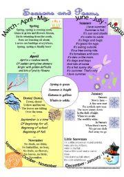 English Worksheets: Seasons and Poems
