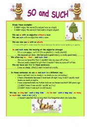 English Worksheets: So and Such ( 2 pages)