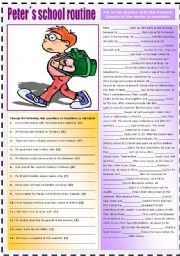 English Worksheet: PETER�S SCHOOL ROUTINE (PRESENT SIMPLE)