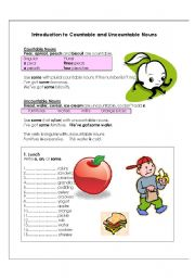 English Worksheets: Introduction to countable and uncountable nouns