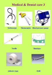 English worksheet: Medical & Dental Care Vocab Part 3