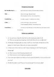 English Worksheet: Shopping (conversation)