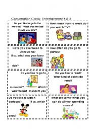 English Worksheet: Conversation Cards  Entertainment #s 1-8