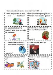 English Worksheet: Conversation Cards  Entertainment  #s 9-16