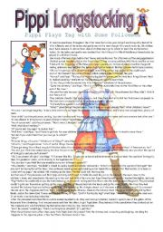 English Worksheets: Pippi Longstocking - Pippi Plays Tag with the Policemen