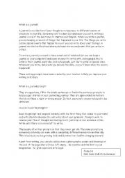 English Worksheets: A Journal Writing Programme