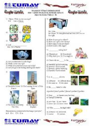 English Worksheet: SBS Revision TEST for 7th grade Unit 1-8 (First Semester)