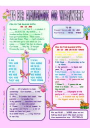 English Worksheet: TO BE:  AM-IS-ARE  &  WAS- WERE