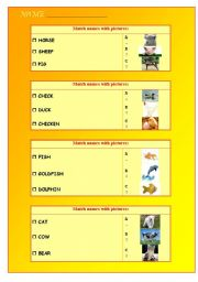 English Worksheets: Animals: images and words