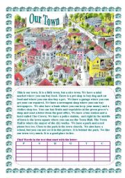 English Worksheet: Our Town