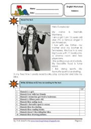 English Worksheet: Hannah Montana reading co.