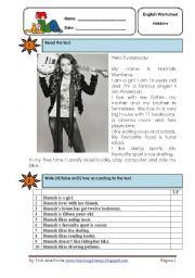 English Worksheets: Hannah Montana reading co.