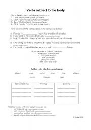 English Worksheets: verbs related to the body