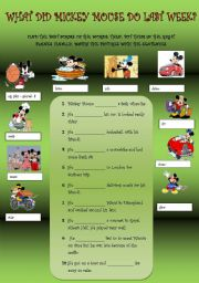 English Worksheet: WHAT DID MICKEY MOUSE DO LAST WEEK?