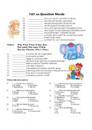 English Worksheets: Test on Question Words