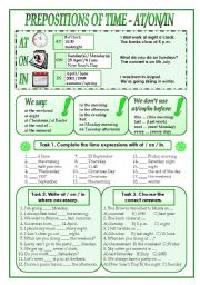 English Worksheet: PREPOSITIONS OF TIME (AT / ON / IN)
