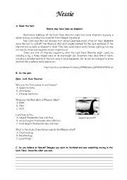 English Worksheets: Nessie worksheet