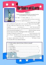 The Statue of Liberty - Revision of indirect questions - Student A & B set