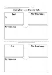 English Worksheet: Making Inferences Flow Map