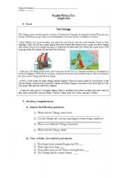 English Worksheet: The Vikings