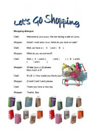English Worksheet: A) Going Shopping Dialogue (Shopping with Comparatives)