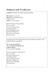 English Worksheets: Subjects and Predicates