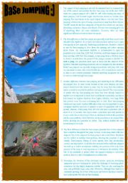 English Worksheets: BASE-JUMPING   READING AND LISTENING ACTIVITY WITH VOCABULARY CHART ;) DIAMOND FOR ADVANCE STUDENTS  :)