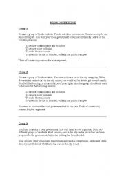 English Worksheets: CITY CAR BAN DEBATE AND ROLEPLAY