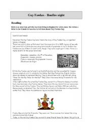 English Worksheet: Guy Fawkes - Bonfire Night