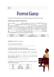 English Worksheets: Forrest Gump - analysing some excerpts from the DVD